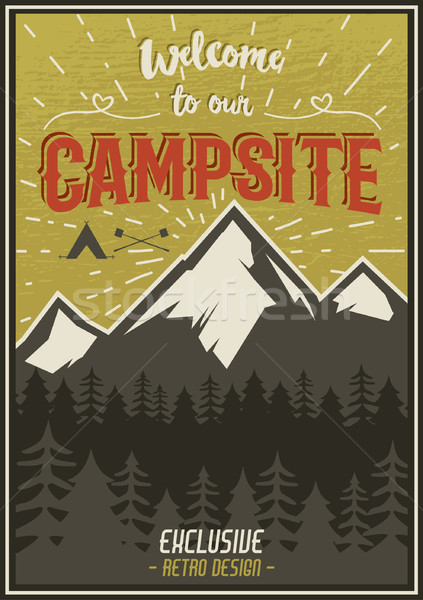 Retro travel typography poster with camping symbols - tent, mountains, forest. Vector typography des Stock photo © JeksonGraphics
