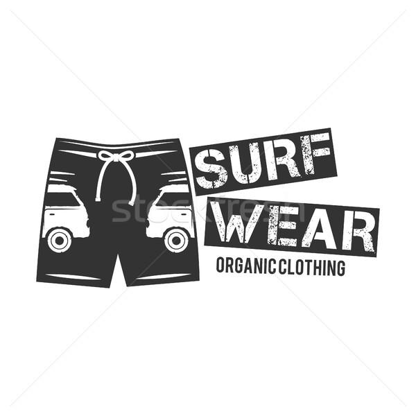 Vintage Surfing Wear stamp design. Surf Clothing shop logo. Graphics and Emblem for web design or pr Stock photo © JeksonGraphics