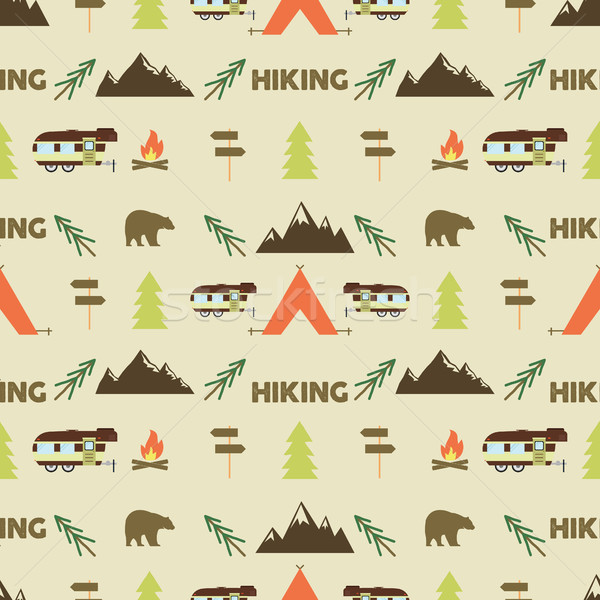 Hiking seamless pattern. trail wallpaper design. Equipment for outdoor walking background print. or  Stock photo © JeksonGraphics