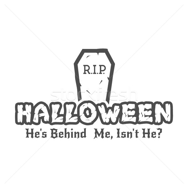 Halloween RIP label template with tombstone and typography elements. Vector text with retro grunge e Stock photo © JeksonGraphics