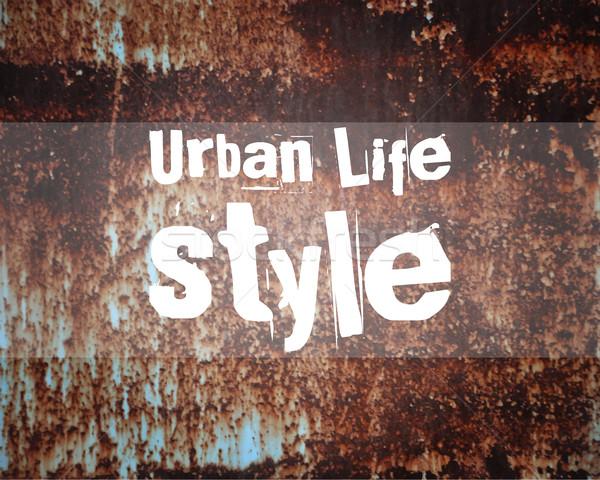 Városi absztrakt életstílus poszter szalag minta Stock fotó © JeksonGraphics
