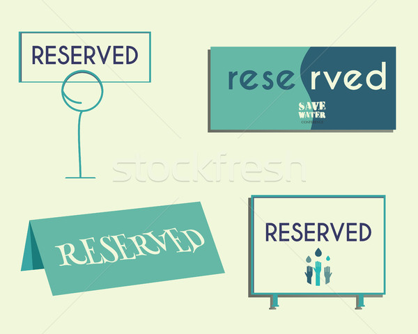 Reservation sign mock up template. Save water conference. Eco theme. Isolated on bright background.  Stock photo © JeksonGraphics