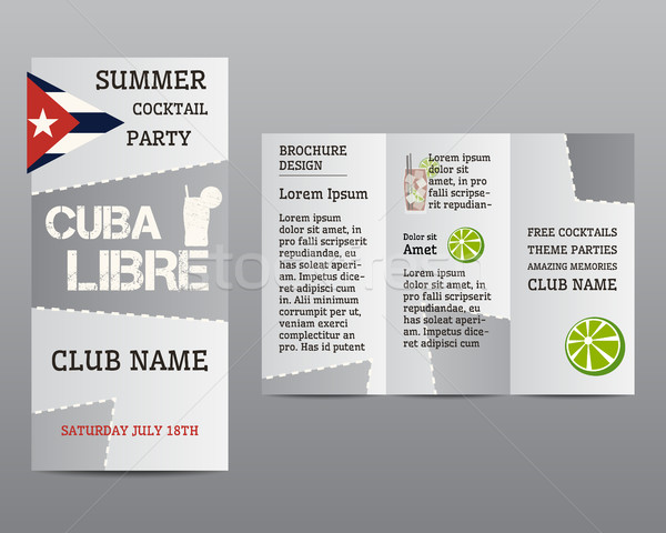 Summer cocktail party flyer invitation template with Cuba Libre cocktail and infographic elements. M Stock photo © JeksonGraphics