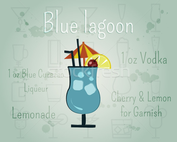 Blue Lagoon Cocktail banner and poster template with ingredients. Summer stylish design. Isolated on Stock photo © JeksonGraphics