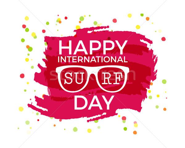 Szczęśliwy międzynarodowych surfing dzień etykiety graficzne Zdjęcia stock © JeksonGraphics