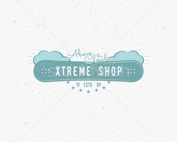Snowboard extrema tienda logo etiqueta plantillas Foto stock © JeksonGraphics