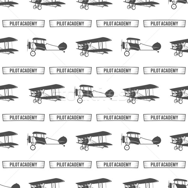 Vintage pilot academy pattern. Old Biplanes seamless background with ribbon. Retro Airplane wallpape Stock photo © JeksonGraphics