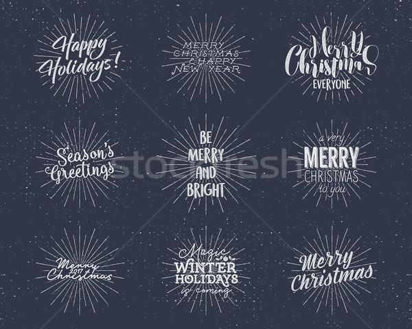 Szett karácsony új év kívánságok mondások klasszikus Stock fotó © JeksonGraphics