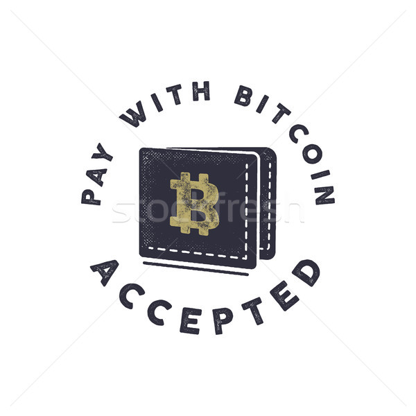 Pay with Bitcoin Accepted emblem. Crypto currencies label and concepts. Digital assets logo. Vintage Stock photo © JeksonGraphics
