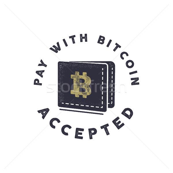 Illetmény bitcoin embléma pénznemek címke fogalmak Stock fotó © JeksonGraphics