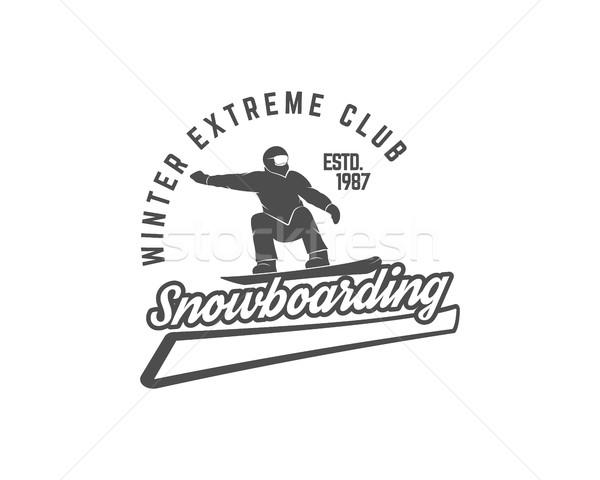 Snowboardzie logo etykiety szablon zimą ekstremalnych Zdjęcia stock © JeksonGraphics