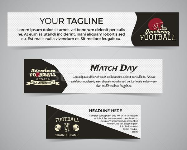 Ingesteld amerikaanse voetbal banner sjabloon voetbal Stockfoto © JeksonGraphics