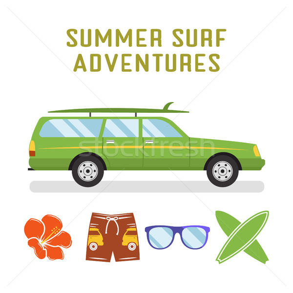retro flat surf car design and elements - surfboards, glasses, flower. Best summer vacation, beach  Stock photo © JeksonGraphics