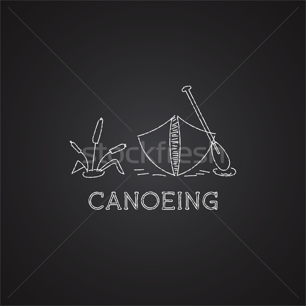 Canoe logo and icon. Chalk drawing design on black background. Can be used as banner, poster, logo e Stock photo © JeksonGraphics