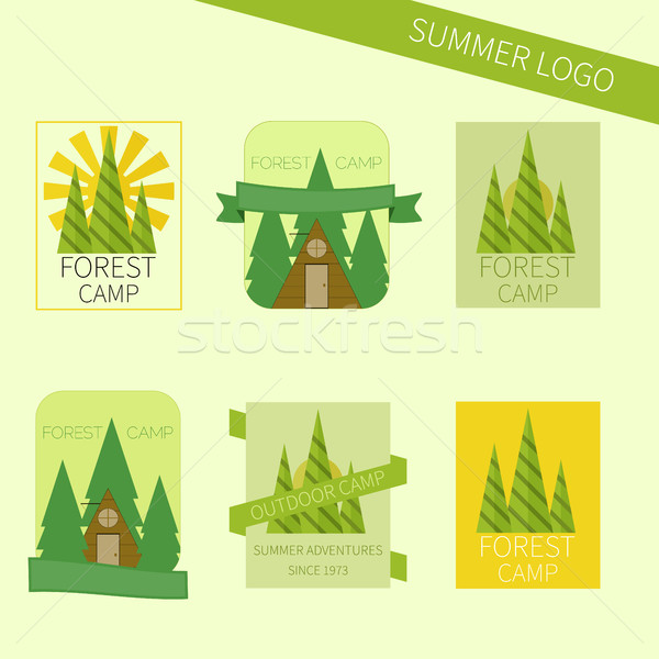 Set of travel and camping logo. Outdoor emblems. Tourism icons Stock photo © JeksonGraphics