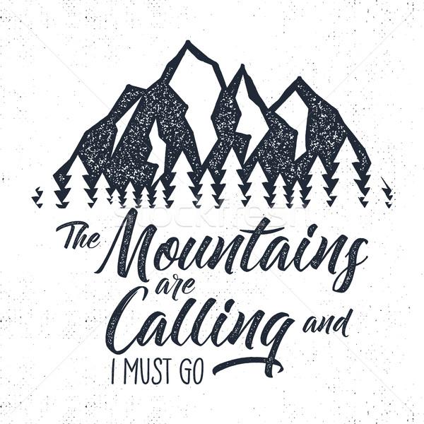 Hand drawn mountain advventure label.  calling illustration. Typography design with sun bursts trees Stock photo © JeksonGraphics