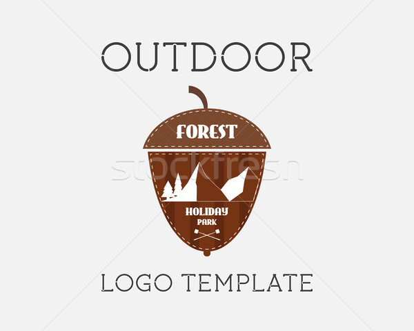Mountain campsite campground outdoor adventure and expedition logo badges icon. Holiday park. Unusua Stock photo © JeksonGraphics