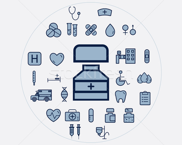 Stock photo: Flat medical icons set. Health care elements.Trendy colors. Vector