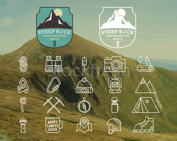 Set of Summer mountain camp badge, logo label and line icon templates. Travel, hiking, climbing styl Stock photo © JeksonGraphics