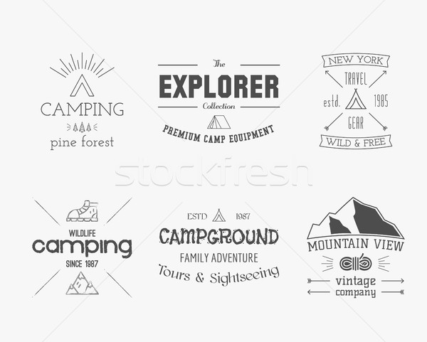 Set of vintage explorer, mountain, forest logo, labels and badges. Stylish Monochrome design. Outdoo Stock photo © JeksonGraphics