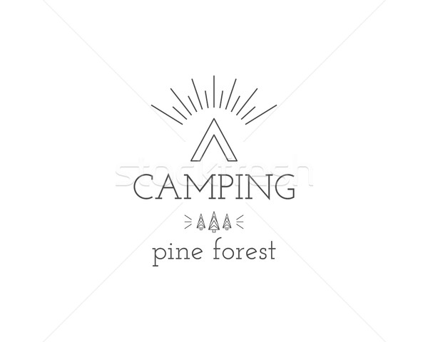 Vintage mountain expedition camping badge, outdoor logo, emblem and label concept for web, print. Pi Stock photo © JeksonGraphics