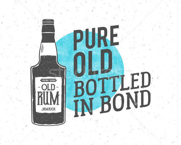Vintage handcrafted motivation label, emblem. Vector slogan - pure old bottled in bond. Sketching fi Stock photo © JeksonGraphics
