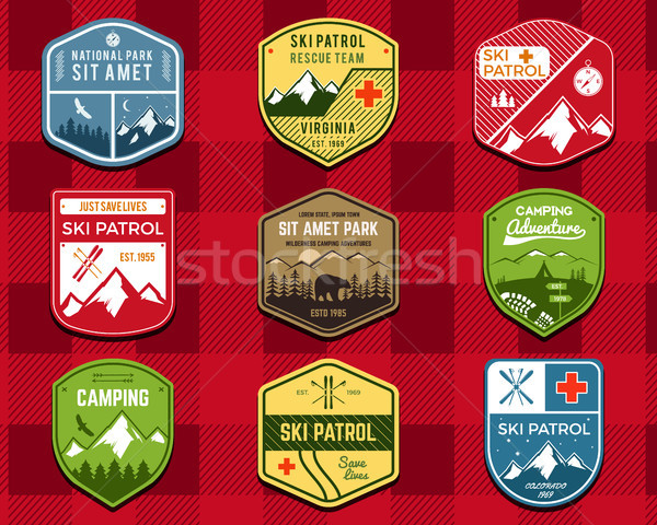 Set of Ski Club, Patrol Labels. Retro Mountain winter camping explorer badges. Outdoor adventure log Stock photo © JeksonGraphics