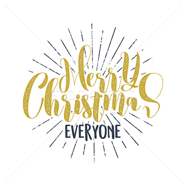 Merry Christmas everyone lettering, holiday wish, saying and vintage label. Season's greetings calli Stock photo © JeksonGraphics