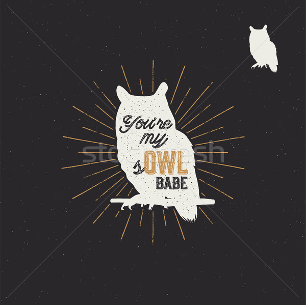 Vintage hand drawn animal label. Tribal badge with textured owl, sunbursts and typography. Good for  Stock photo © JeksonGraphics