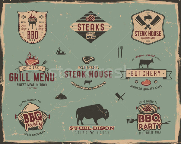 Vintage grill and steak house logo templates. Retro colors bbq, grill party badges, stamps and label Stock photo © JeksonGraphics