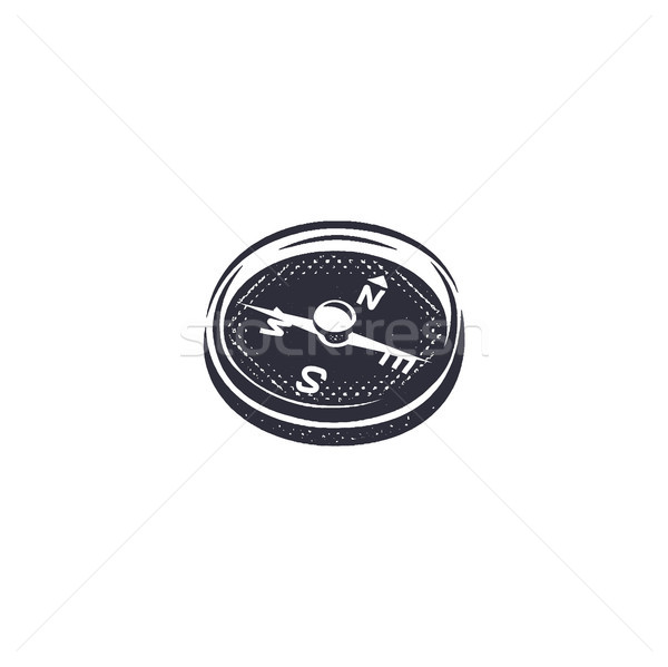 Vintage hand drawn compass shape in monochrome etch style. Adventure engrave icon, letterpress picto Stock photo © JeksonGraphics