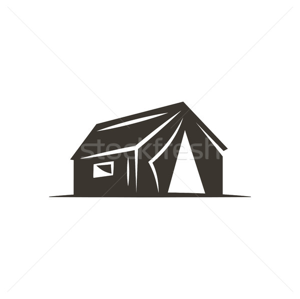 Stock photo: tent icon isolated on white background. Solid adventure symbol. Monochrome design. Use for logo crea