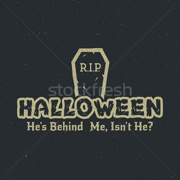 Halloween 2016 party label template with tombstone and typography elements. Vector text with retro g Stock photo © JeksonGraphics