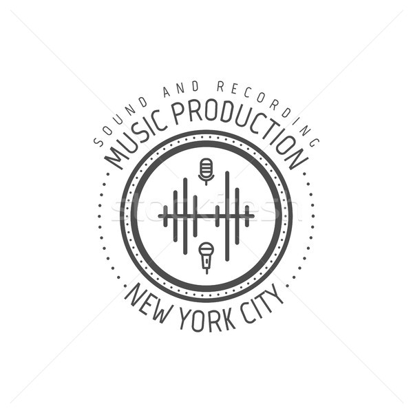 Musique production New York City étiquette badge emblème Photo stock © JeksonGraphics