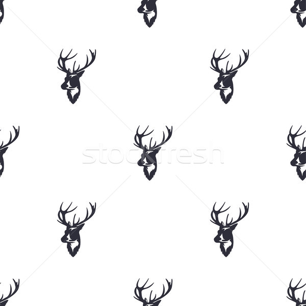Deer head pattern. Wild animal symbols seamless background. Reindeer icons. Retro wallpaper. Vintage Stock photo © JeksonGraphics