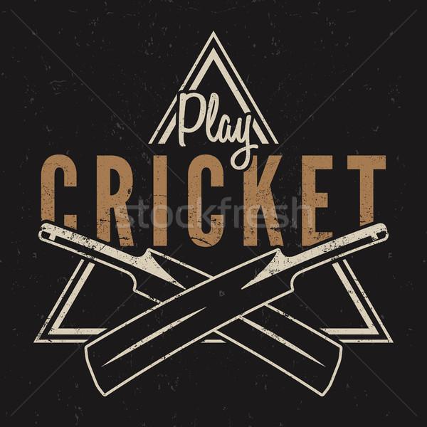 Retro cricket emblem design. logo icon . badge. Sports symbols with gear, equipment. tee . shirt . T Stock photo © JeksonGraphics