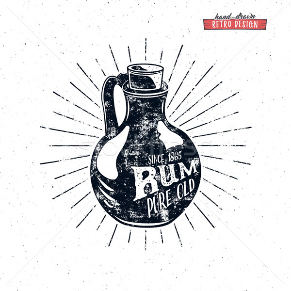 Retro rum bottle label design. Vintage alcohol badge for tee , printing t-shirt, web projects. With  Stock photo © JeksonGraphics