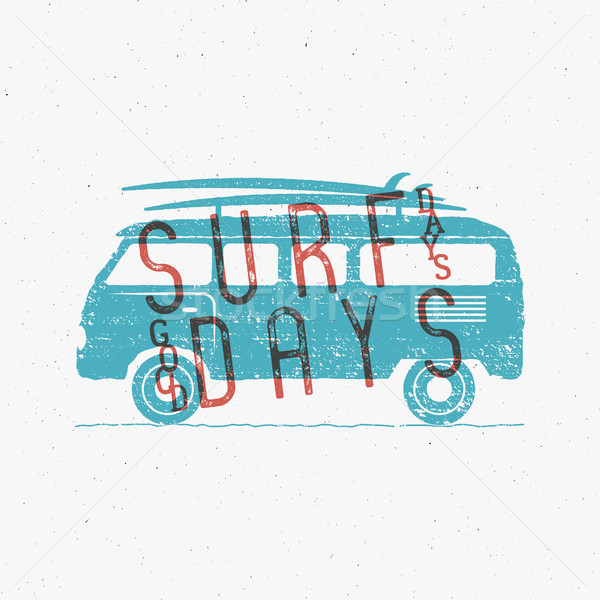 Vintage Surfing Graphics and Poster for web design or print. Surfer banner with van, rv and typograp Stock photo © JeksonGraphics