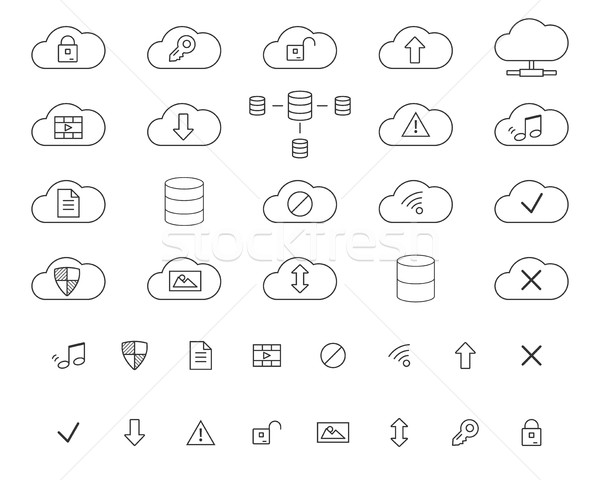 Cloud Storage Icons Set. Outlined. Thin line design for web and mobile app. Cloud technologies. Isol Stock photo © JeksonGraphics
