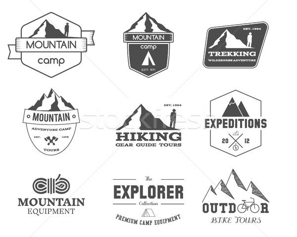 Set of monochrome outdoor adventure explorer camp badge, logo and label templates. Travel, hiking, c Stock photo © JeksonGraphics