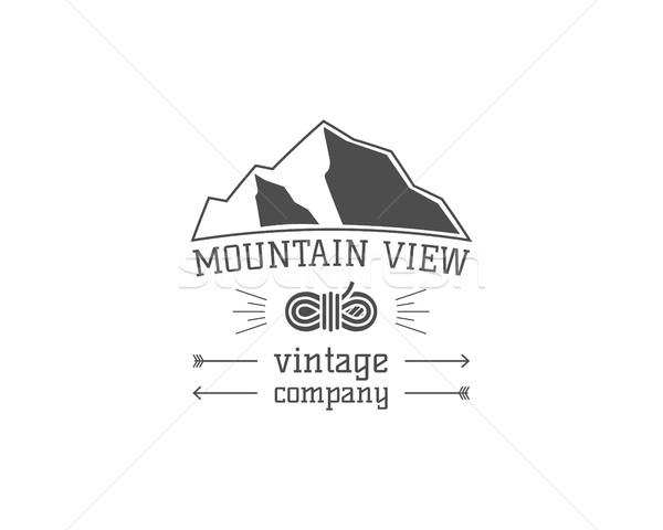 ストックフォト: ヴィンテージ · 山 · キャンプ · ストア · バッジ · 屋外