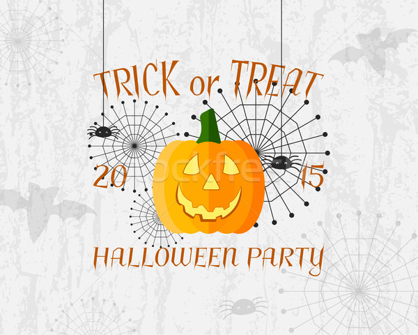 Trick or Treat banner. Happy Halloween Poster. With spider, spiderweb, bat and pumpkin. Nice design  Stock photo © JeksonGraphics