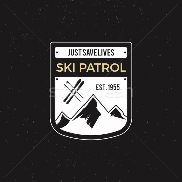 Winter ski patrol Label with ski equipment and mountains. Vintage extreme adventure badge. Outdoors  Stock photo © JeksonGraphics