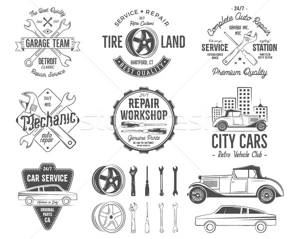 Stockfoto: Oldtimer · dienst · badges · garage · reparatie · retro