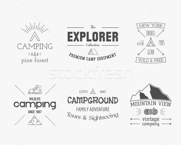 Szett klasszikus felfedező hegy erdő logo Stock fotó © JeksonGraphics