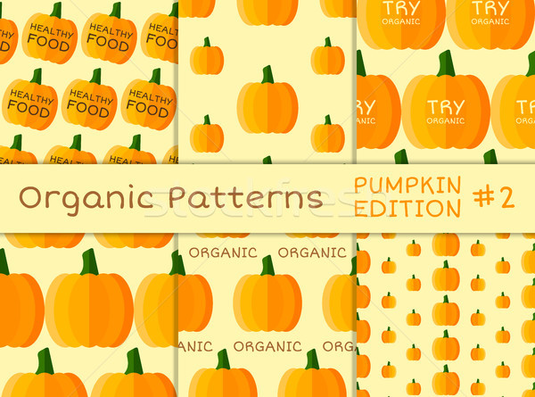 Organic seamless pattern collection. Fresh vegetables from the farmer. Bio and eco theme. Healthy fo Stock photo © JeksonGraphics