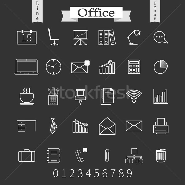 Business and office thin icons set. Trendy line icons for web and mobile.  Stock photo © JeksonGraphics