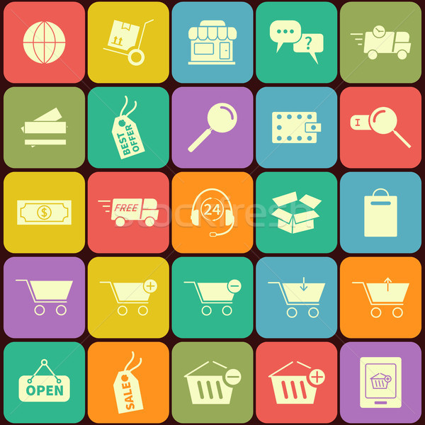 E Commerce Shopping Flat Icons Stock photo © JeksonGraphics