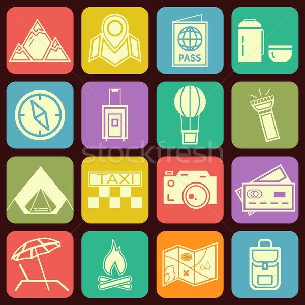 Modern flat traveling and camping icons vector collection in stylish multicolor buttons backgrounds. Stock photo © JeksonGraphics
