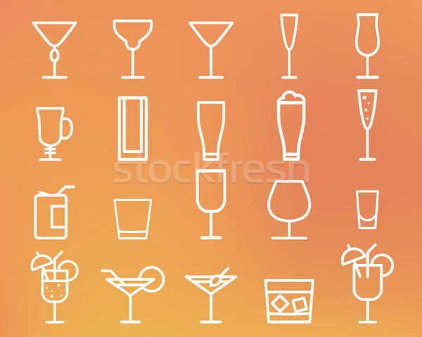 Dranken dun lijn symbool icon Stockfoto © JeksonGraphics